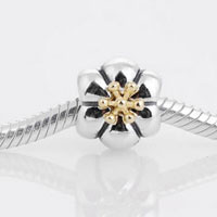 Sterling Silver Jewelry - sterling silver fashion 14 k gold flower beads charms bracelets fit all brands Image.
