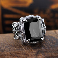 Rings - stainless steel bowknot black crystal gem men' s fashion band ring size  7 Image.