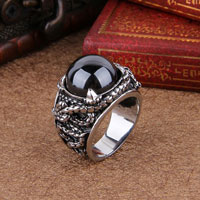 Rings - stainless steel hot beads black crystal gem men' s fashion ring size  8 Image.