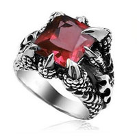 Rings - stainless steel shrill claw red crystal gem men' s fashion ring size  9 Image.