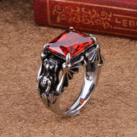 Rings - stainless steel fancy flower red crystal gem men' s fashion ring size 9 Image.