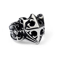 Rings - stainless steel classical floral black crystal gem unisex fashion ring size  9 Image.
