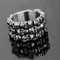 KSEB SHEB Items - men' s hot stainless steel lots skull carved shield wide band ring size  8 Image.
