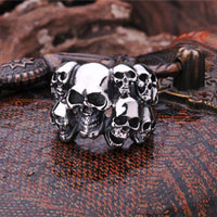 KSEB SHEB Items - men' s stainless steel horror multi skull combination unique biker ring size  12 Image.