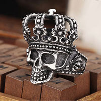 KSEB SHEB Items - stainless steel fancy flower crown skull shield wide men' s biker ring size  8 Image.