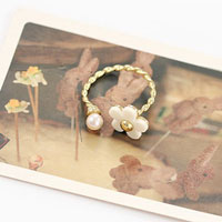 KSEB SHEB Items - fashion pearl and daisy knuckle ring adjustable fine alloy ring Image.