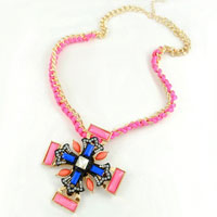 Necklace & Pendants - vintage pink stone cross choker crystal collar statement bib necklace pendant Image.