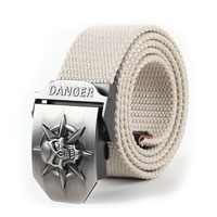 KSEB SHEB Items - new fashion men white waistband danger pirate skull canvas thick lengthen waist belt Image.