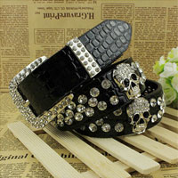 KSEB SHEB Items - new fashion girls skull pu black rhinestone bling wide waist belt cool punk rock Image.