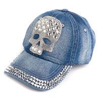 Clothing & Accessories - fashion hot skull womens dark blue cotton baseball hat denim jeans golf dancing cap Image.
