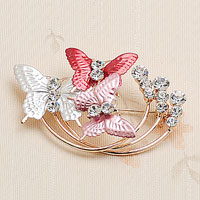 Fashion Red Enamel Butterfly Clear White Rhinetone Crystal Gold Tone Pin Brooch