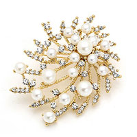 KSEB SHEB Items - floral flower white pearl clear white crystal rhinestone gold tone brooch pin Image.