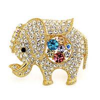 KSEB SHEB Items - fashion colorful crystal rhinestone elephant animal gold tone pin brooch Image.