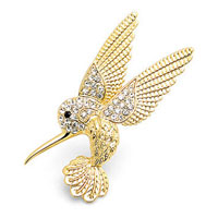 Cute Birds Open Wings Animal Gold Tone Clear White Rhinestone Crystal Pin Brooch