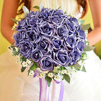 KSEB SHEB Items - new handmade pe purple flower wedding floral rose bouquet heirloom Image.