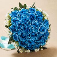 KSEB SHEB Items - new handmade pe blue flower wedding floral rose bouquet heirloom Image.