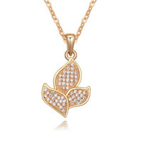 New Arrivals - golden tone flower with clear crystal cz pendant necklace Image.