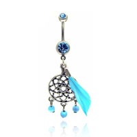 Belly Rings - 316 l surgical steel flower turquoise dream catcher belly navel rings Image.