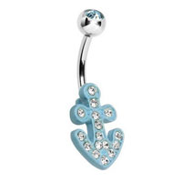 Theme Jewelry - 316 l surgical steel enamel blue nautical anchor glam belly button ring Image.