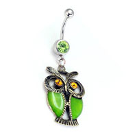 KSEB SHEB Items - 316 l surgical steel green owl topaz crystal eyes belly button ring Image.