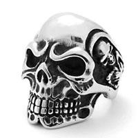 Rings - 316 l surgical steel men' s huge gothic skull lord biker ring size  9 Image.