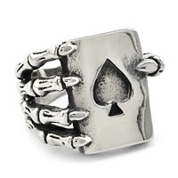 Rings - 316 l surgical steel skull hand with heart poker ring size  7 Image.