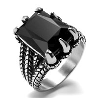 KSEB SHEB Items - 316 l stainless steel vintage black crystal cz ring size  7 Image.
