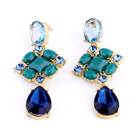 Earrings - 18 k golden tone inlay lake blue crystal cz dangle earrings jewelry Image.