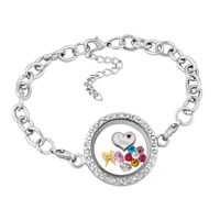 KSEB SHEB Items - new crystal living locket floating charms heart flower chains bracelet Image.