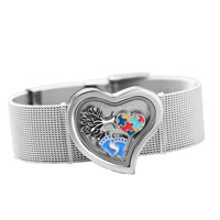 Bracelets - silver p floating memory living locket autism tree charms wide bracelet charm bracelet Image.