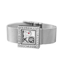 Bracelets - square crystal living locket family tree cross floating charms bracelet charm bracelet Image.