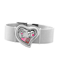 KSEB SHEB Items - fashion heart shape living locket wide memrory bracelet + 4  floating charms Image.