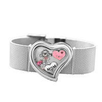 KSEB SHEB Items - heart wide living memory locket bracelet + 4  floating charms mom girl crystal charms Image.