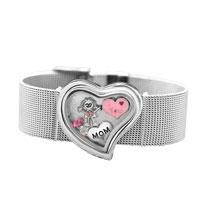 KSEB SHEB Items - heart wide living memory locket bracelet + 4  floating charms mom girl crystal charms Image.