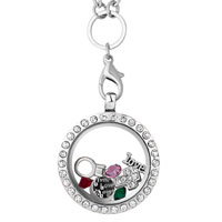 KSEB SHEB Items - new silver p living locket with i love you plate charms chains necklace Image.
