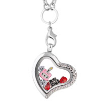 KSEB SHEB Items - puster new heart love birthstones chains floating living locket charms neckalce Image.