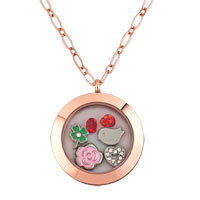 KSEB SHEB Items - rose golden living locket +  floating charms birthstones +  chain necklace Image.