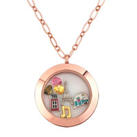 KSEB SHEB Items - gold p floating living memory locket birthstones charms chain neckalce Image.