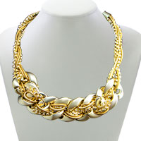 Necklace & Pendants - gold plated crystal multi braided rope collar chunky statement bib necklace pendant Image.