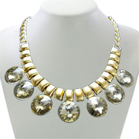 Necklace & Pendants - new champagne crystal gold tone chain choker chunky statement bib necklace pendant Image.