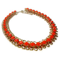 Necklace & Pendants - orange rhinestone/ gemstone gold p chain choker statement bib necklace hot pendant Image.