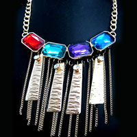 Necklace & Pendants - women party rhinestone crystal chunky bib silver statement necklace pendant Image.