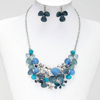 Necklace & Pendants - fashion women blue butterfly big chunky bib statement necklace silver chain pendant Image.