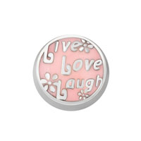 KSEB SHEB Items - pink round live life laugh flower floating charms fit living memory locket Image.