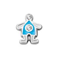 KSEB SHEB Items - boy clear crystal blue enamel floating charms fit living memory locket Image.