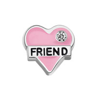 KSEB SHEB Items - friend heart love crystal enamel floating charms for living memory locket Image.
