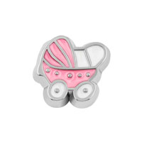 KSEB SHEB Items - jewelry floating memory living locket charms silver p pink baby carriage Image.