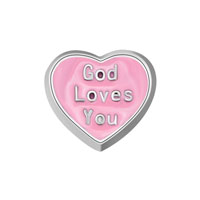 KSEB SHEB Items - jewelry floating memory living locket pink god loves you heart charm Image.