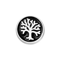 KSEB SHEB Items - black enamel white family tree floating charms fit living memory locket Image.