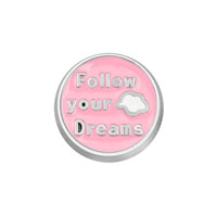 KSEB SHEB Items - jewelry floating memory living locket follow your dreams pink round charm Image.